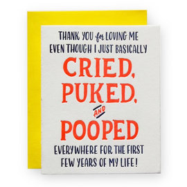 Ladyfingers Letterpress Parent Card - Cried Puked & Pooped