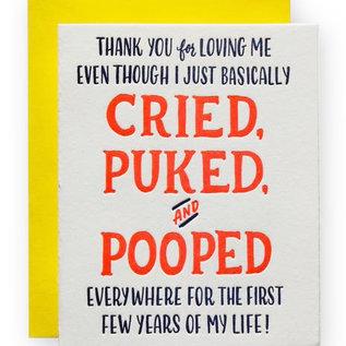 Ladyfingers Letterpress Parent Card - Cried Puked & Pooped
