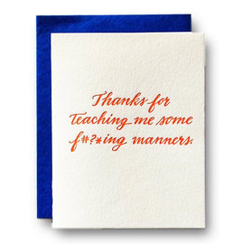 Ladyfingers Letterpress Parent Card -  Manners