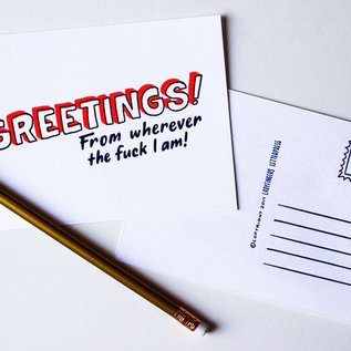 Ladyfingers Letterpress Wherever the Fuck I Am Postcard