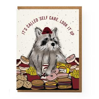 Boss Dotty Paper Co. Greeting Card - Self Care Raccoon