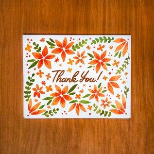 Pretty Bird Paper Co. Thank You Card - Orange Floral