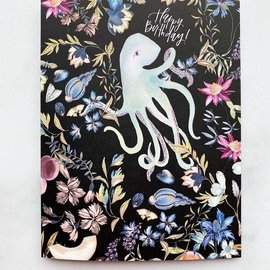 The Mint Gardener Birthday Card - Octopus Dark Floral