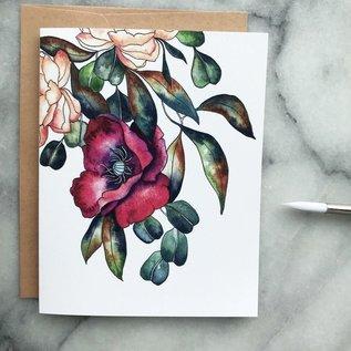 The Mint Gardener Greeting Card - Burgundy Poppy