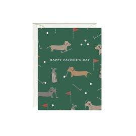 Paula & Waffle Father's Day Card - Dachshunds Golfing