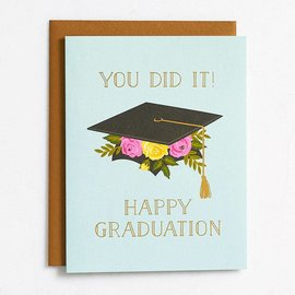 Waste Not Paper Graduation Card - Grad Cap Floral Foil