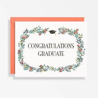 Waste Not Paper Graduation Card - Congrats Floral Wreath