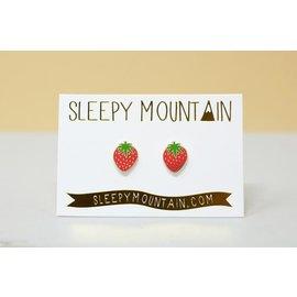 Sleepy Mountain Strawberry Stud Earrings