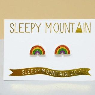 Sleepy Mountain Rainbow Stud Earrings