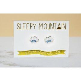 Sleepy Mountain Rain Cloud Stud Earrings
