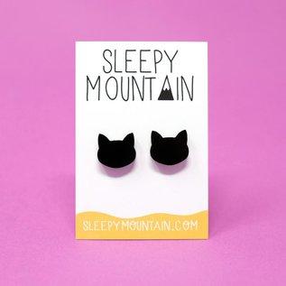 Sleepy Mountain Black Cat Stud Earrings