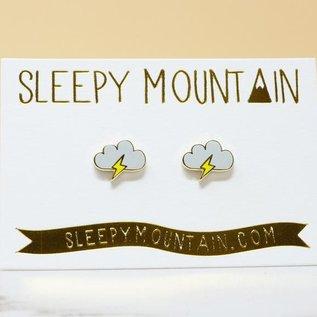 Sleepy Mountain Lightning Cloud Stud Earrings