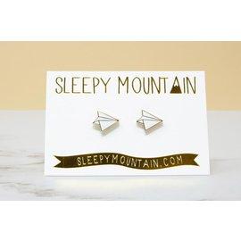 Sleepy Mountain Paper Airplane Stud Earrings