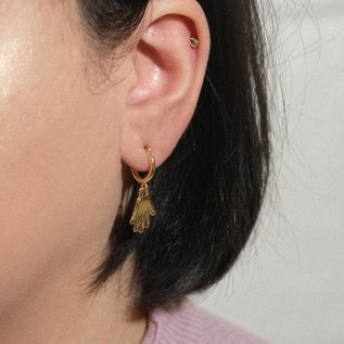 Sleepy Mountain Gold Hands Hoop Earrings