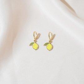 Sleepy Mountain Lemon Hoop Earrings