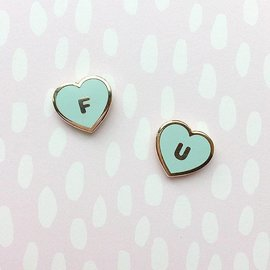 Little Arrow FU Hearts Lapel Pin Set