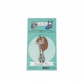 La Ru Sloth & Space Needle Enamel Pin