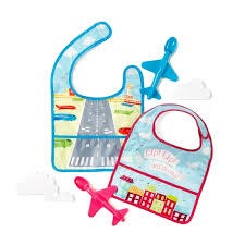 TWO'S COMPANY CUPCAKES AND CARTWHEELS:  Airplane Spoon with Bib Asst 2 Designs