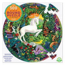 EEBOO: Unicorn Garden 500 Piece Round Puzzle