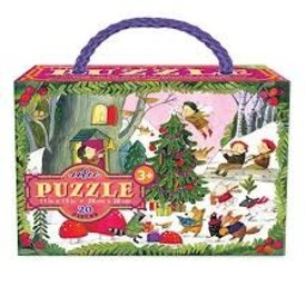 EEBOO:  Christmas in the Woods 20 Pc Glit Puzzle