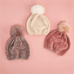 TWO'S COMPANY 2 CHIC:  CHENILLE HAT WIHT FUR POM POM (ASST COLORS)
