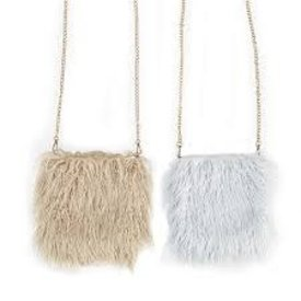 TWO'S COMPANY 2 CHIC:  FAUX LAMB FUR BAG WITH GOLD CHAIN (ASST COLORS)