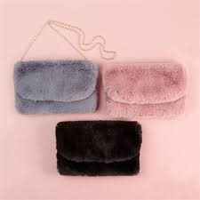 2 CHIC:  FAUX FUR BAG WITH CHAIN (1 OF 3 ASST COLORS)