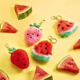 TWO'S COMPANY CUPCAKES AND CARTWHEELS:  FAUX FUR FRUIT KEYCHAIN (1 OF 4 ASST)
