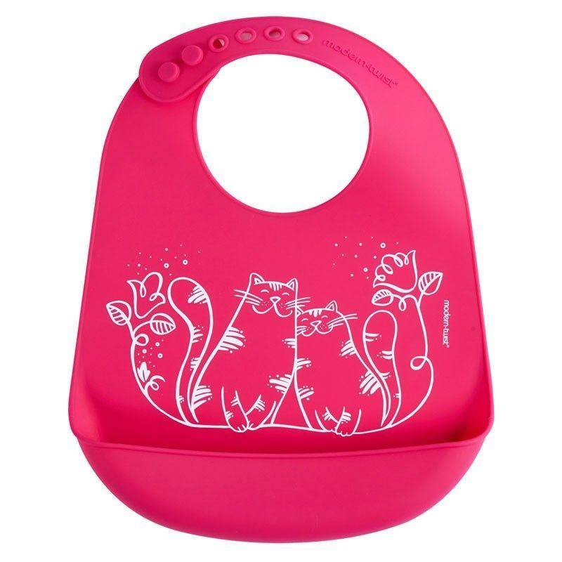 MODERN TWIST MODERN TWIST: BUCKET BIB Kitties-Magenta