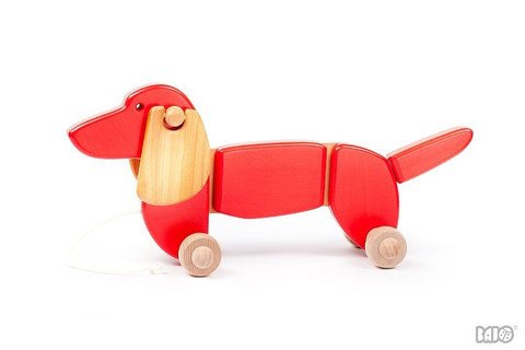 LITTLE POLAND GALLERY LITTLE POLAND:  DACHSUND DOG PULL TOY