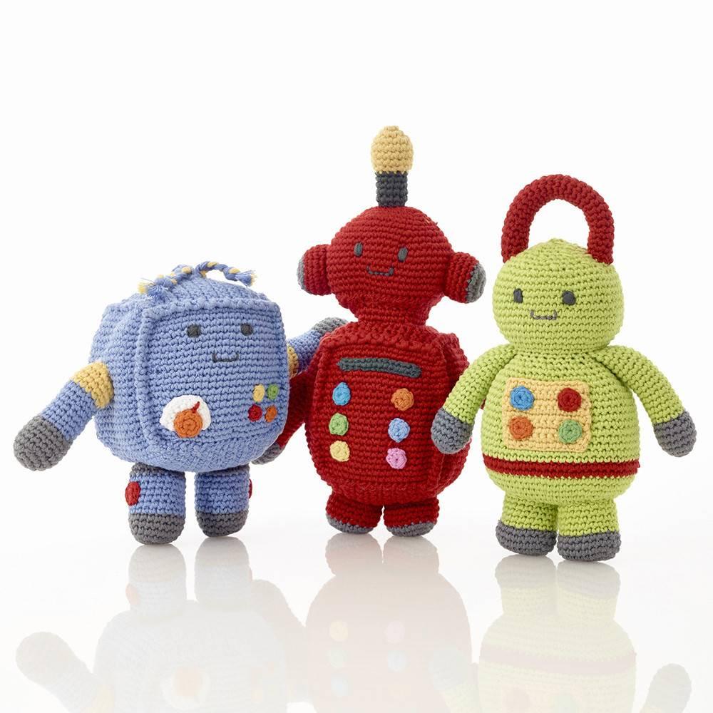 PEBBLE ROBOT RATTLE - SPARK (BLUE)