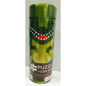 PETIT COLLAGE: Dinosaur 64-Piece Tin Canister Puzzle