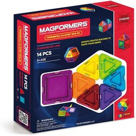 MAGFORMERS: Clear Rainbow Solids 14pc Set