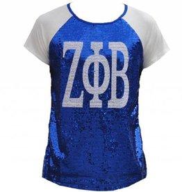 Big Boy Headgear Zeta Phi Beta Sequins Blue T-Shirt