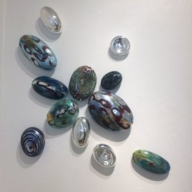 Thor & Jennifer Bueno Thor & Jennifer Bueno, Green Opaline, blown, kiln cooled, sandblasted, silvered (   pieces),