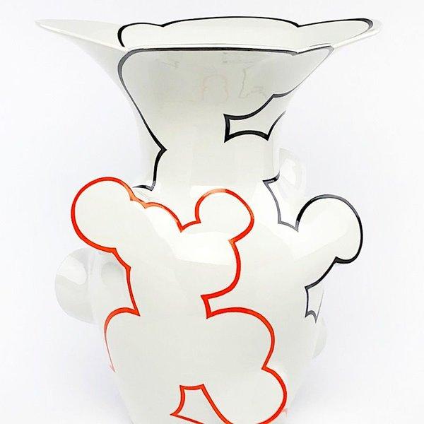 "Sam Chung Sam Chung, Flared Cloud Vase, porcelain, glaze, 14.5 x 11.5 x 11.5"""