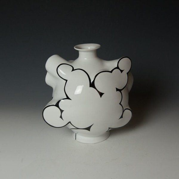 Sam Chung Sam Chung, Cloud Flask, porcelain, glaze, 10 x 10 x 6""