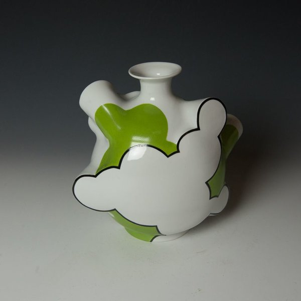 Sam Chung Sam Chung, Cloud Flask, porcelain, glaze, 9.5 x 10.5 x 6""