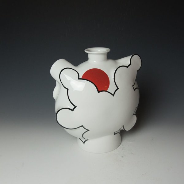 Sam Chung Sam Chung, Cloud Flask, porcelain, glaze, 12 x 11.25 x 6""