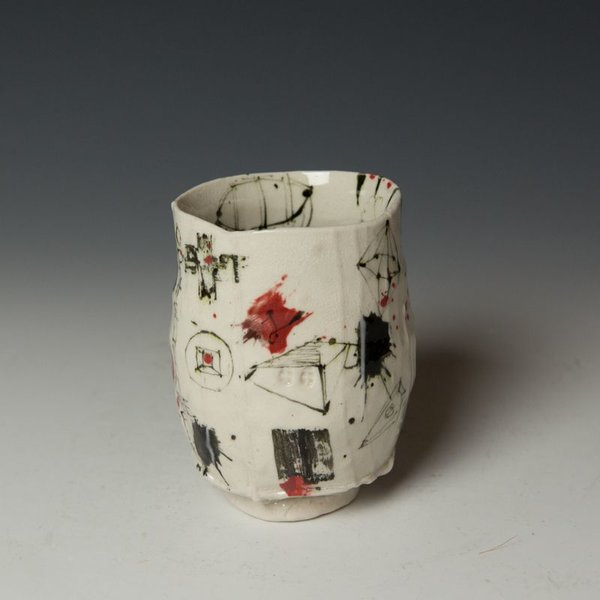 """Ted Saupe Ted Saupe,  Yunomi, porcelain, black stain, glaze, 4.25 x 3.25"""" dia"""