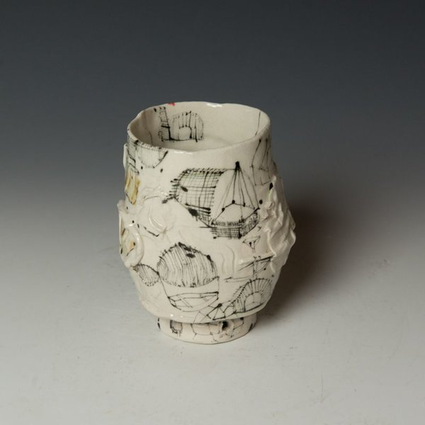 """Ted Saupe Ted Saupe,  Yunomi, porcelain, black stain, glaze, 5 x 4"""" dia"""