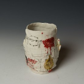 "Ted Saupe Ted Saupe,  Yunomi, porcelain, black stain, glaze, 5 x 4"" dia"