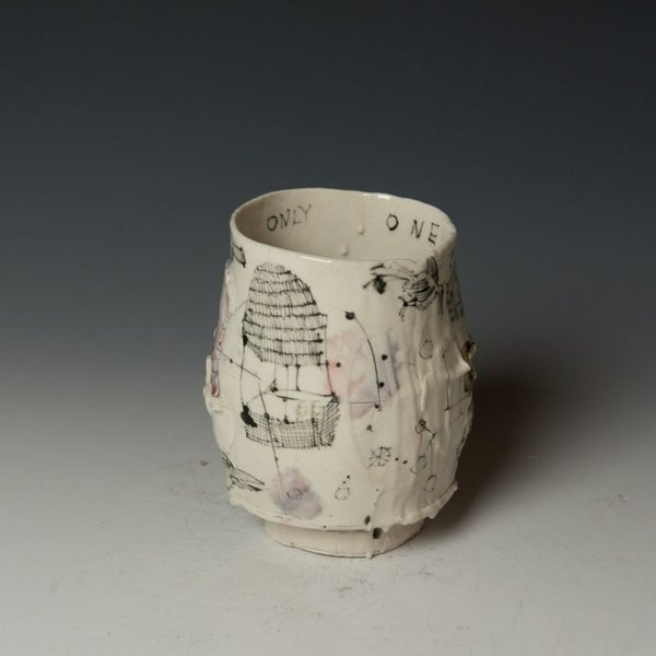 "Ted Saupe Ted Saupe,  Yunomi, porcelain, black stain, glaze, 4.25 x 3.25"" dia"