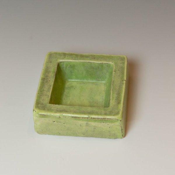 "Joe Pintz Joe Pintz, Block Salt Cellar - Green, handbuilt earthenware, 1 x 3 x 3.25"""