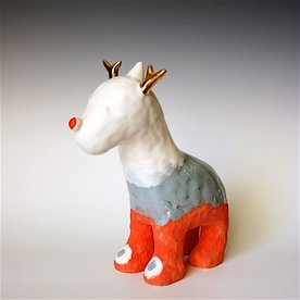 Taehoon Kim Taehoon Kim, Animal 5, fired clay, glaze, 9 x 3.25 x 8""