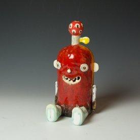 "Taehoon Kim Taehoon Kim, Sweet Monster II, fired clay, glaze, wood, wire, 10.75 x 5 x 6"""