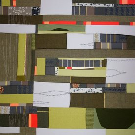 """Sheri Schumacher Sheri Schumacher, Forest Field, hand-stitched repurposed linens, natural and persimmon dyed thread, 36 x 36"""""""