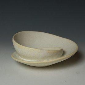 """Gwendolyn Yoppolo Gwendolyn Yoppolo, Involuted Bowl, porcelain, crystalline glaze, 3.5 x 9 x 9"""""""