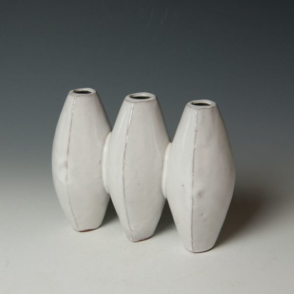 "Jerilyn Virden Jerilyn Virden, Accordion Vase, handbuilt earthenware, 6 x 7.5 x  3.5"""