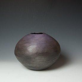 "Ann Housworth Ann Housworth, Coil Pot, earthenware, underglaze, smoked, 9.5 x 12"""